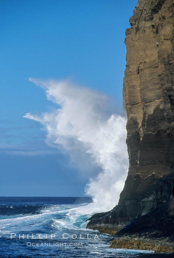 Waves crashing on Isla Afuera east cliffs. Guadalupe Island (Isla Guadalupe), Baja California, Mexico, natural history stock photograph, photo id 02392