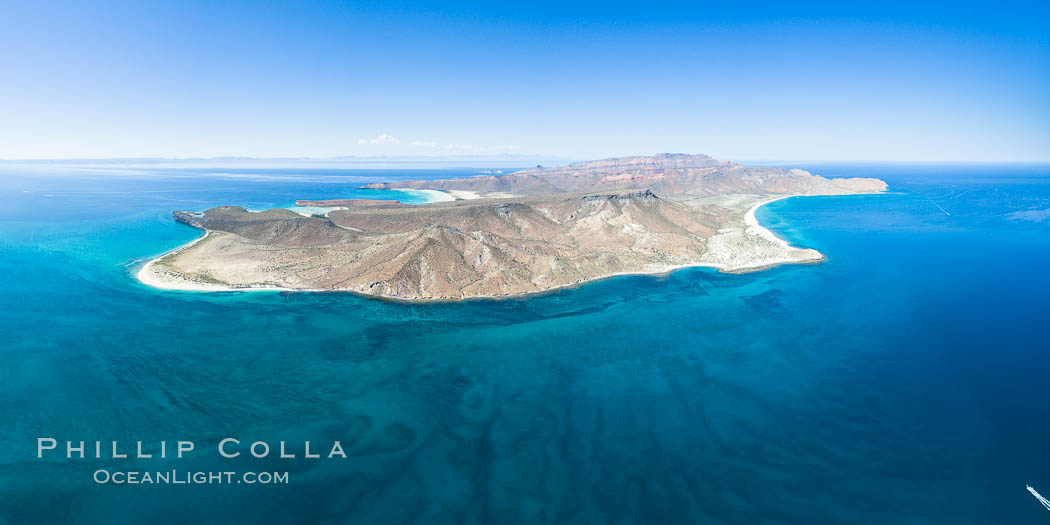 Isla Espiritu Santo, aerial photo, viewed from San Lorenzo Channel. Isla Espiritu Santo, Baja California, Mexico, natural history stock photograph, photo id 32364