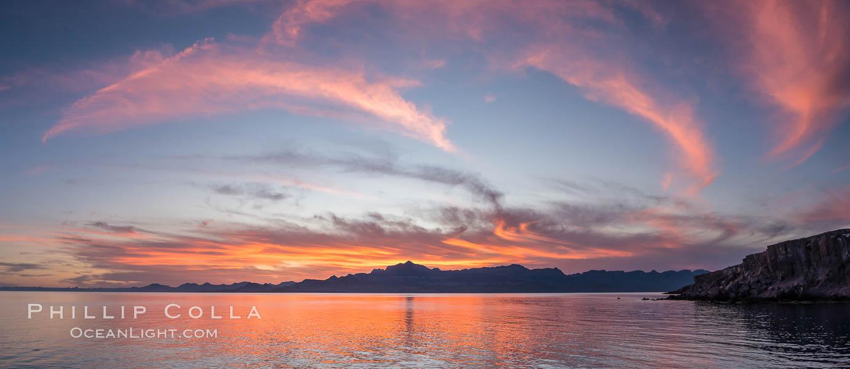 Isla San Francisquito, Sunset, Panorama. Isla San Francisquito, Baja California, Mexico, natural history stock photograph, photo id 32417