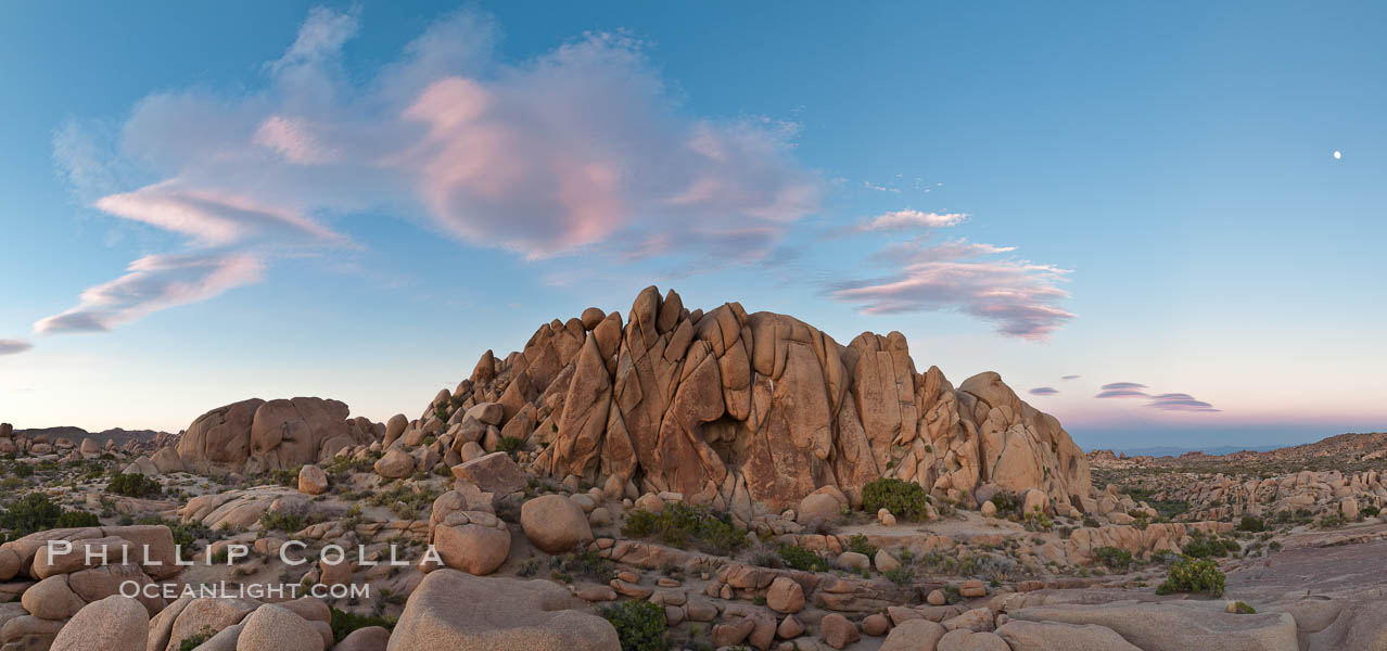 Sunset and boulders, Joshua Tree National Park.  Sunset lights the giant boulders and rock formations near Jumbo Rocks in Joshua Tree N.P. Joshua Tree National Park, California, USA, natural history stock photograph, photo id 26734