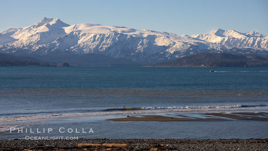 Kachemak Bay, Kenai Mountains, tide flats and rocky beach. Kachemak Bay, Homer, Alaska, USA, natural history stock photograph, photo id 22736