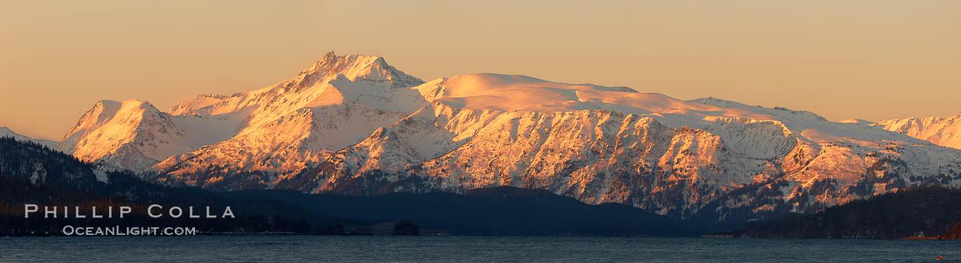 Kenai Mountains at sunrise, viewed across Kachemak Bay. Kachemak Bay, Homer, Alaska, USA, natural history stock photograph, photo id 22739
