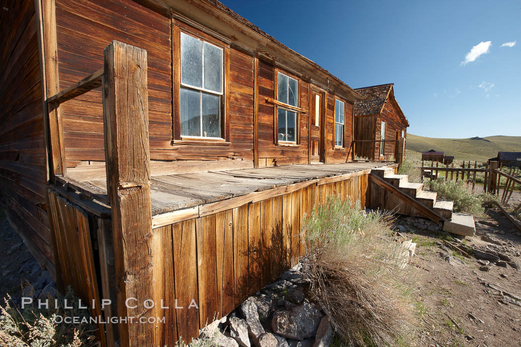 L.E. Bell House, front porch, Union Street and Park Street. Bodie State Historical Park, California, USA, natural history stock photograph, photo id 23148