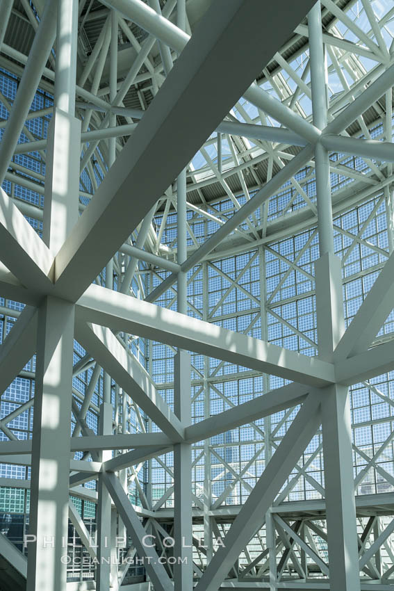 Los Angeles Convention Center, south hall, interior design exhibiting exposed space frame steel beams and glass enclosure., natural history stock photograph, photo id 29150