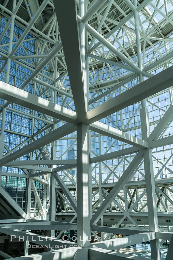 Image 29154, Los Angeles Convention Center, south hall, interior design exhibiting exposed space frame steel beams and glass enclosure., Phillip Colla, all rights reserved worldwide. Keywords: architecture, beams, california, city, convention center, design, engineering, glass, interior, los angeles, los angeles convention center, modern, pipe, struts, urban, usa, window.