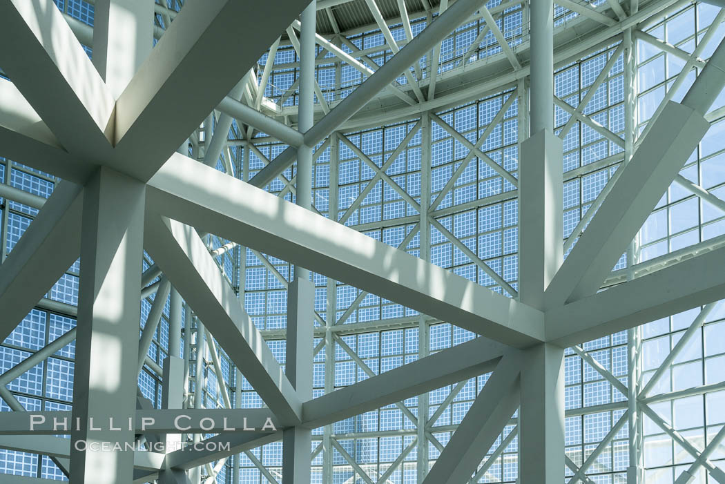 Los Angeles Convention Center, south hall, interior design exhibiting exposed space frame steel beams and glass enclosure., natural history stock photograph, photo id 29151