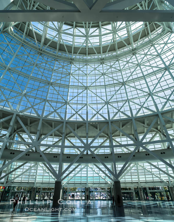 Los Angeles Convention Center, south hall, interior design exhibiting exposed space frame steel beams and glass enclosure., natural history stock photograph, photo id 29145