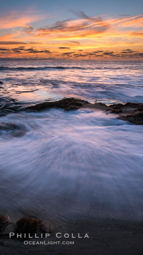 La Jolla coast sunset, waves wash over sandstone reef, clouds and sky. d 0.402760 0.496781, La Jolla, California, USA, natural history stock photograph, photo id 27895