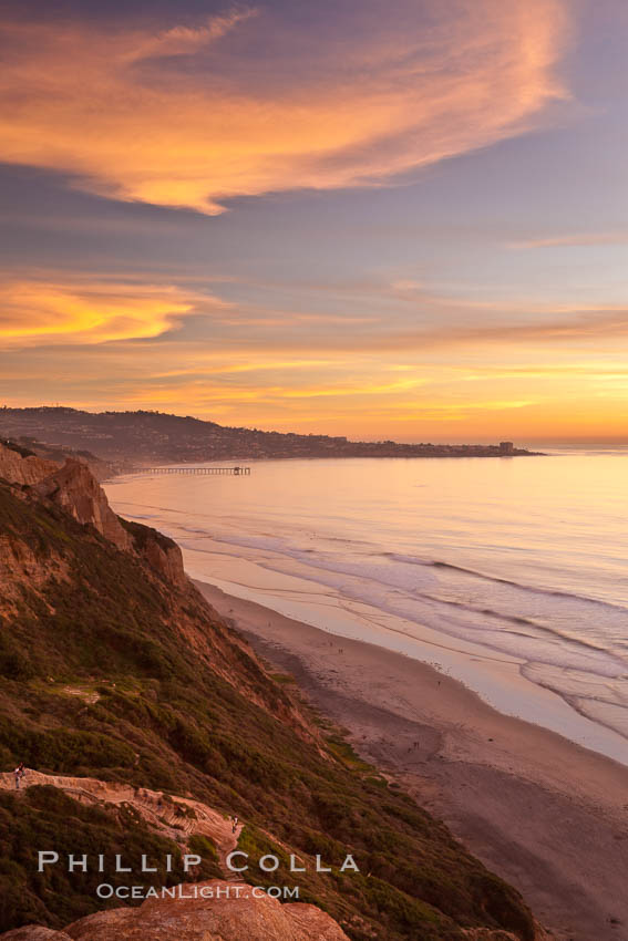 Sunset falls upon Torrey Pines State Reserve, viewed from the Torrey Pines glider port.  La Jolla, Scripps Institution of Oceanography and Scripps Pier are seen in the distance. California, USA, natural history stock photograph, photo id 26436