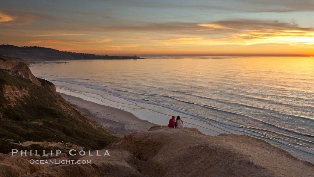 Sunset falls upon Torrey Pines State Reserve, viewed from the Torrey Pines glider port.  La Jolla, Scripps Institution of Oceanography and Scripps Pier are seen in the distance. La Jolla, California, USA, natural history stock photograph, photo id 26435