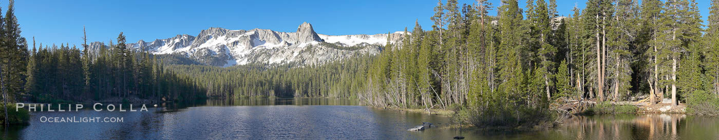 Panorama of Lake Mamie in the Mammoth Lakes basin, early morning. California, USA, natural history stock photograph, photo id 19125