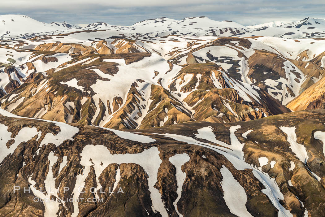 Image 35723, Landmannalaugar highlands region of Iceland, aerial view., Phillip Colla, all rights reserved worldwide. Keywords: aerial, aerial photo, iceland.
