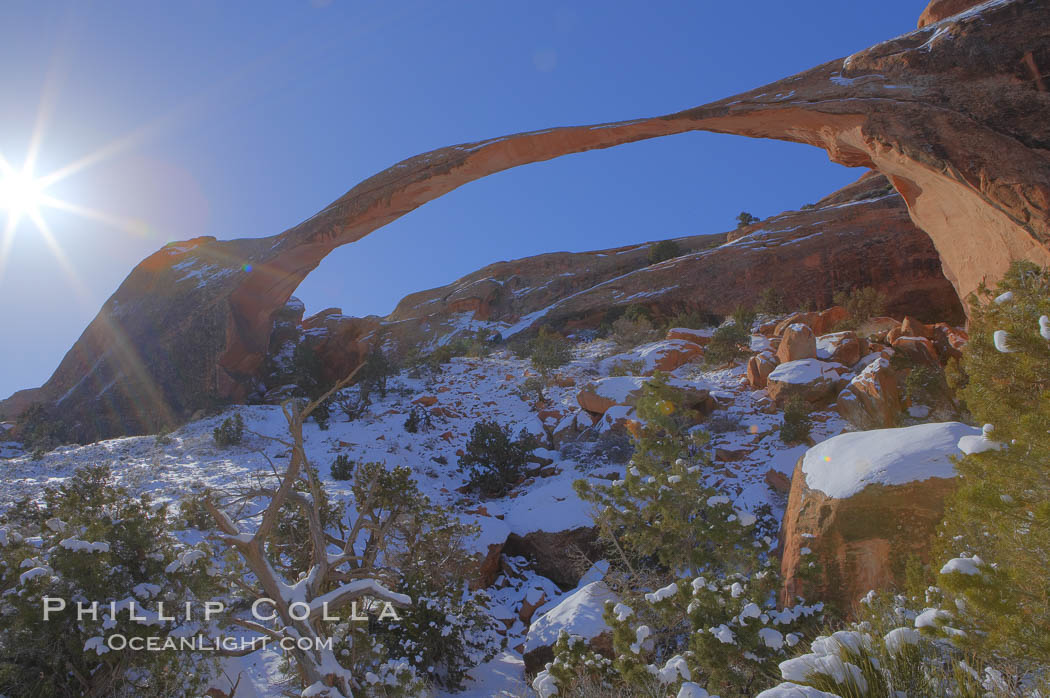 Landscape Arch in winter. Landscape Arch has an amazing 306-foot span. Arches National Park, Utah, USA, natural history stock photograph, photo id 18116