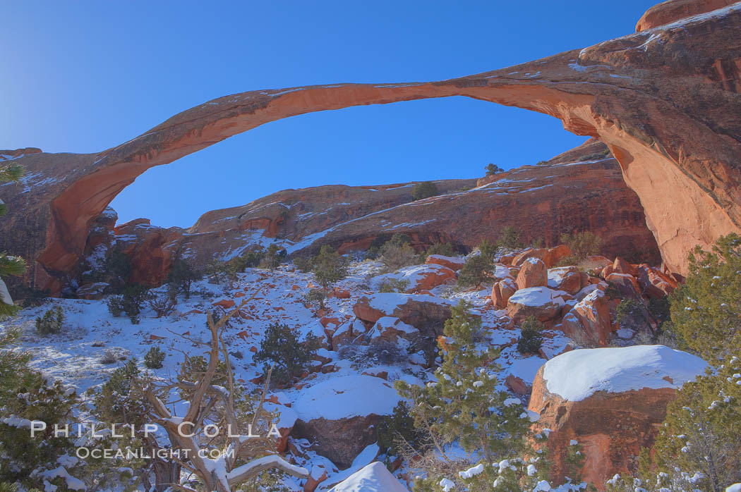 Landscape Arch in winter. Landscape Arch has an amazing 306-foot span. Landscape Arch, Arches National Park, Utah, USA, natural history stock photograph, photo id 18115