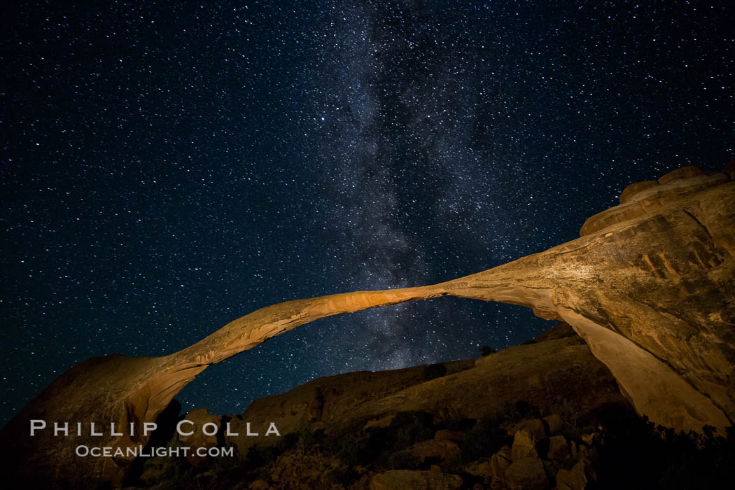 Image 27871, Landscape Arch and Milky Way, stars rise over the arch at night. Arches National Park, Utah, USA
