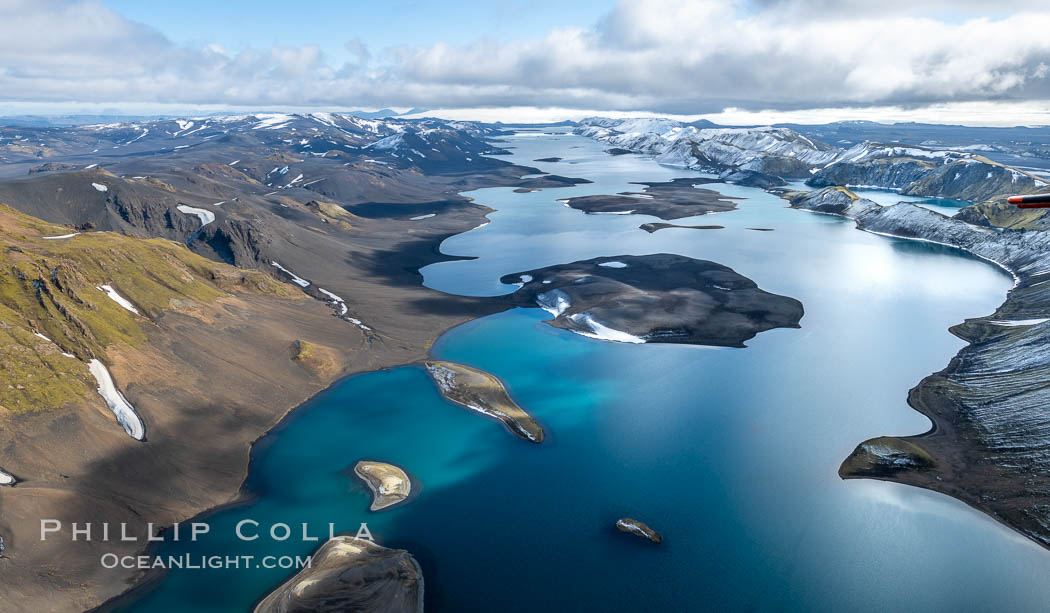 Lake Langisjor in the interior highlands of Iceland, Aerial View. Langisjor, Iceland, natural history stock photograph, photo id 35781
