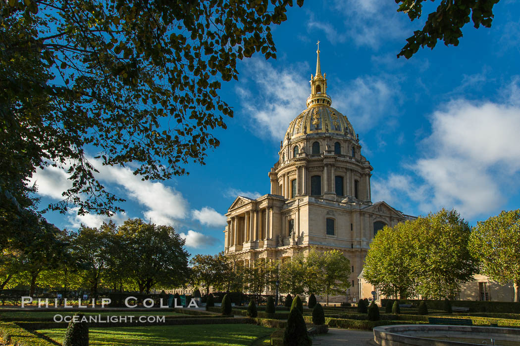 Les Invalides, officially known as L'Hotel national des Invalides (The National Residence of the Invalids), is a complex of buildings in the 7th arrondissement of Paris, France, containing museums and monuments, all relating to the military history of France, as well as a hospital and a retirement home for war veterans, the building's original purpose. Hotel National des Invalides, natural history stock photograph, photo id 28161