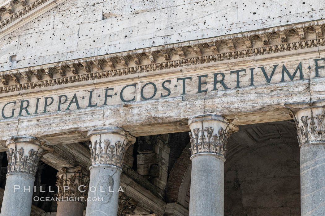 Lettering on the front of the Pantheon, Rome. Italy, natural history stock photograph, photo id 35573