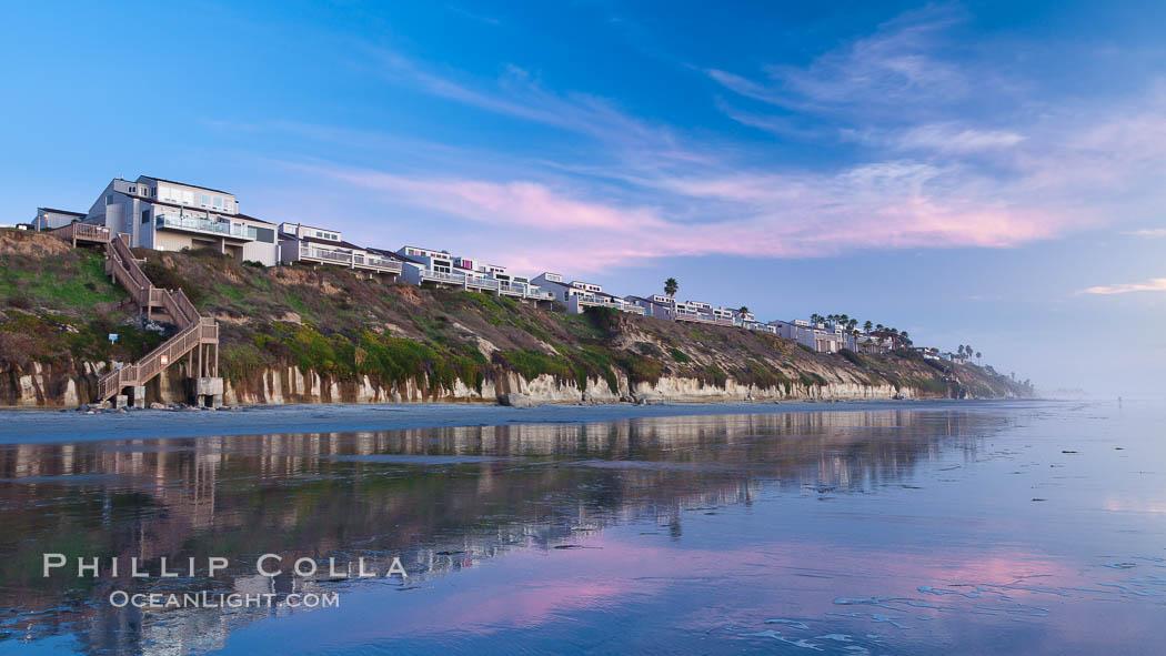 Image 27380, Leucadia beach and coastline, sunset. Leucadia, Encinitas, California, USA, Phillip Colla, all rights reserved worldwide. Keywords: beach, california, coast, encinitas, leucadia, outdoors, outside, sand, scene, scenery, scenic, sunset, view.