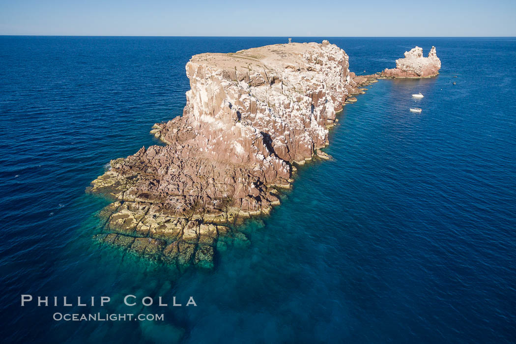 Los Islotes, famous for its friendly colony of California sea lions, part of Archipelago Espiritu Santo, Sea of Cortez, Aerial Photo. Baja California, Mexico, natural history stock photograph, photo id 32397
