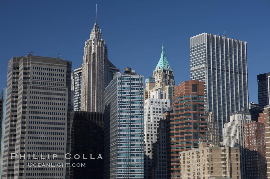 Lower Manhattan skyline viewed from the Brooklyn Bridge. Manhattan, New York City, New York, USA, natural history stock photograph, photo id 11095