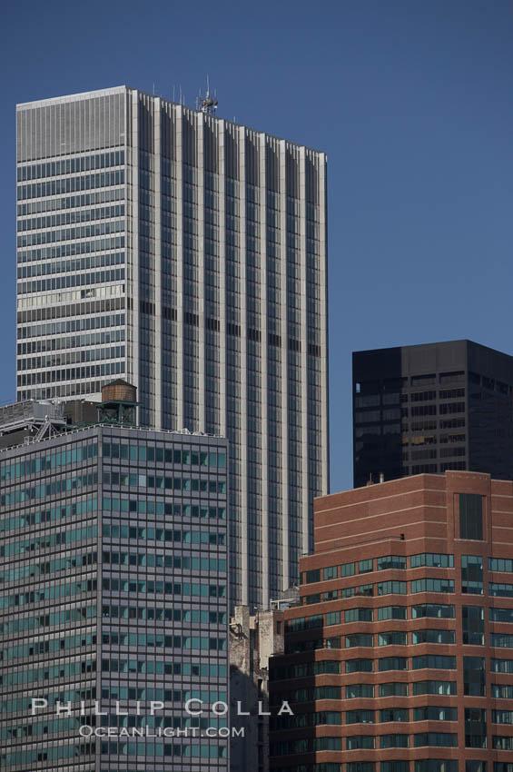 Lower Manhattan skyline viewed from the Brooklyn Bridge. Manhattan, New York City, New York, USA, natural history stock photograph, photo id 11089