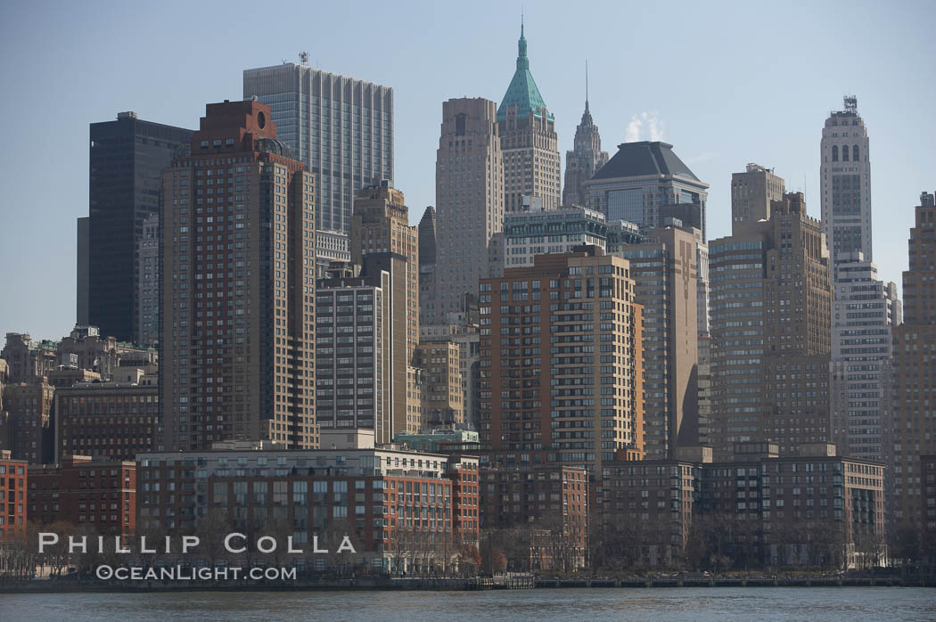 Lower Manhattan skyline viewed from the Hudson River. Manhattan, New York City, New York, USA, natural history stock photograph, photo id 11105