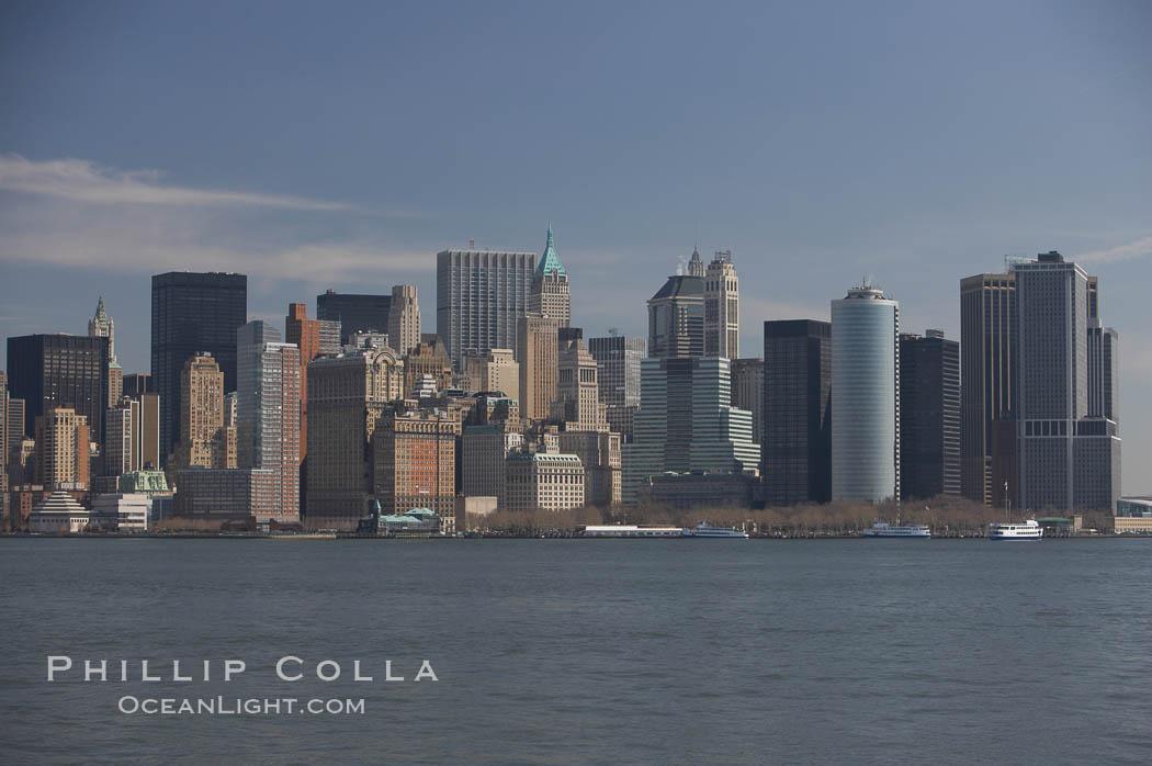 Lower Manhattan skyline viewed from the Hudson River. Manhattan, New York City, New York, USA, natural history stock photograph, photo id 11110