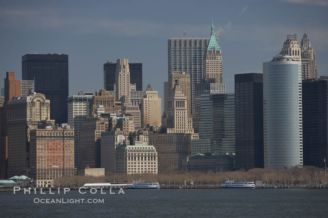 Lower Manhattan skyline viewed from the Hudson River. New York City, USA, natural history stock photograph, photo id 11112