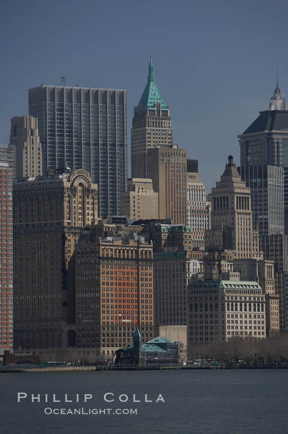 Lower Manhattan skyline viewed from the Hudson River. Manhattan, New York City, New York, USA, natural history stock photograph, photo id 11109