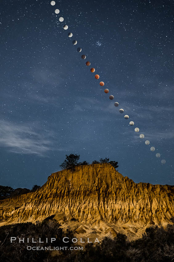 Lunar Eclipse Sequence Over Broken Hill, Torrey Pines State Reserve. While the moon lies in the full shadow of the earth (umbra) it receives only faint, red-tinged light refracted through the Earth's atmosphere. As the moon passes into the penumbra it receives increasing amounts of direct sunlight, eventually leaving the shadow of the Earth altogether. October 8, 2014. Torrey Pines State Reserve, San Diego, California, USA, natural history stock photograph, photo id 29412