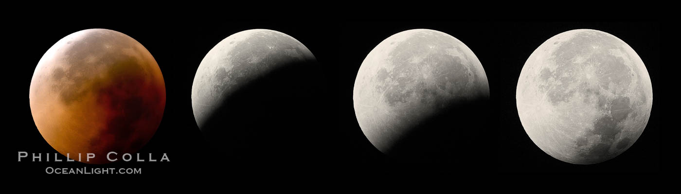 Lunar eclipse sequence, showing total eclipse (left) through full moon (right).  While the moon lies in the full shadow of the earth (umbra) it receives only faint, red-tinged light refracted through the Earth's atmosphere.  As the moon passes into the penumbra it receives increasing amounts of direct sunlight, eventually leaving the shadow of the Earth altogether.  August 28, 2007. Earth Orbit, Solar System, Milky Way Galaxy, The Universe, natural history stock photograph, photo id 19392