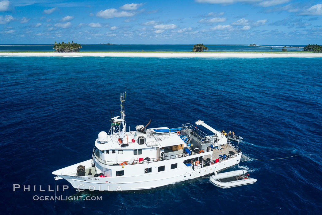 Aerial photo of M/V Nautilus Undersea at Clipperton Island.  Clipperton Island, a minor territory of France also known as Ile de la Passion, is a small (2.3 sq mi) but  spectacular coral atoll in the eastern Pacific. By permit HC / 1485 / CAB (France). Clipperton Island, France, natural history stock photograph, photo id 32851