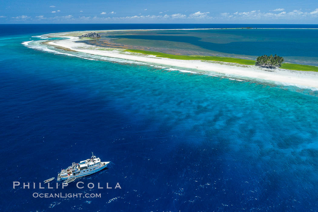 Aerial photo of M/V Nautilus Undersea at Clipperton Island.  Clipperton Island, a minor territory of France also known as Ile de la Passion, is a small (2.3 sq mi) but  spectacular coral atoll in the eastern Pacific. By permit HC / 1485 / CAB (France)., natural history stock photograph, photo id 32901