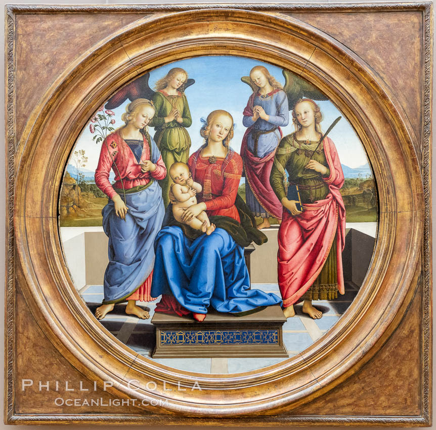 Madonna Enthroned with Saints Catherine and Rose of Alexandria and two angels, Pietro Perugino, 1489 - 1492, Mus�e du Louvre, Paris. Musee du Louvre, France, natural history stock photograph, photo id 35611