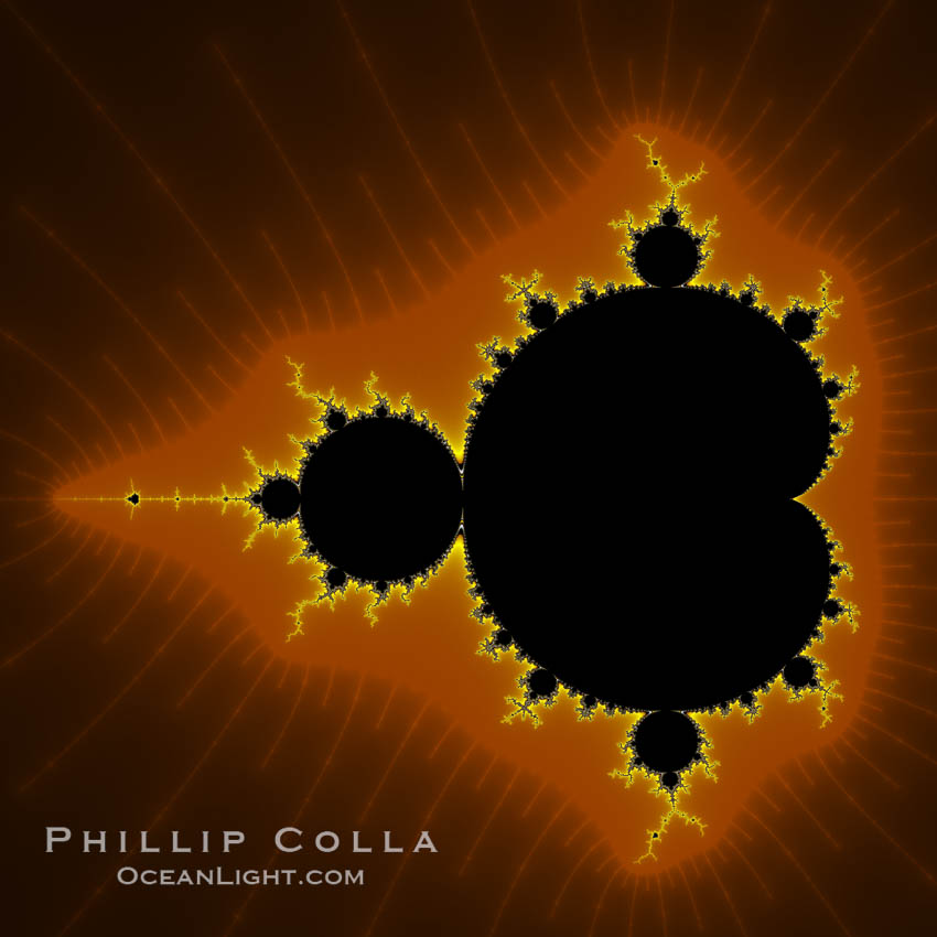 The Mandelbrot Fractal.  Fractals are complex geometric shapes that exhibit repeating patterns typified by <i>self-similarity</i>, or the tendency for the details of a shape to appear similar to the shape itself.  Often these shapes resemble patterns occurring naturally in the physical world, such as spiraling leaves, seemingly random coastlines, erosion and liquid waves.  Fractals are generated through surprisingly simple underlying mathematical expressions, producing subtle and surprising patterns.  The basic iterative expression for the Mandelbrot set is z = z-squared + c, operating in the complex (real, imaginary) number set., Mandelbrot set, natural history stock photograph, photo id 10371