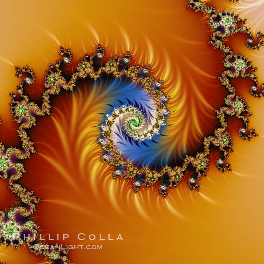 Detail within the Mandelbrot set fractal.  This detail is found by zooming in on the overall Mandelbrot set image, finding edges and buds with interesting features.  Fractals are complex geometric shapes that exhibit repeating patterns typified by <i>self-similarity</i>, or the tendency for the details of a shape to appear similar to the shape itself.  Often these shapes resemble patterns occurring naturally in the physical world, such as spiraling leaves, seemingly random coastlines, erosion and liquid waves.  Fractals are generated through surprisingly simple underlying mathematical expressions, producing subtle and surprising patterns.  The basic iterative expression for the Mandelbrot set is z = z-squared + c, operating in the complex (real, imaginary) number set., Mandelbrot set, natural history stock photograph, photo id 10391
