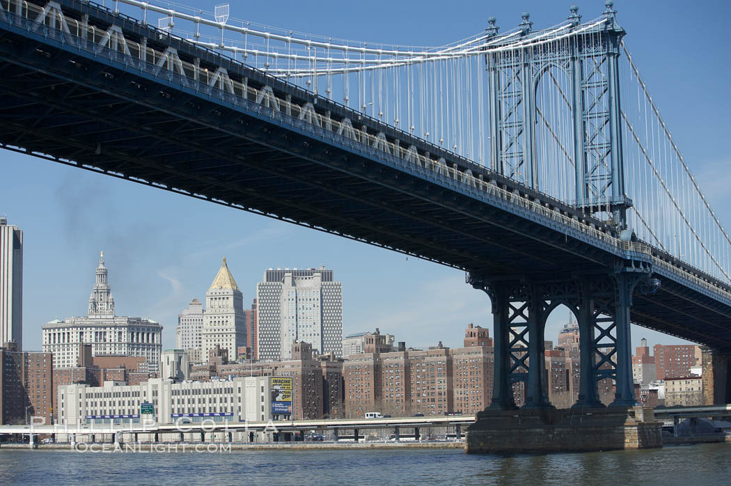 Manhattan Bridge viewed from the East River.  Lower Manhattan visible behind the Bridge. New York City, USA, natural history stock photograph, photo id 11058
