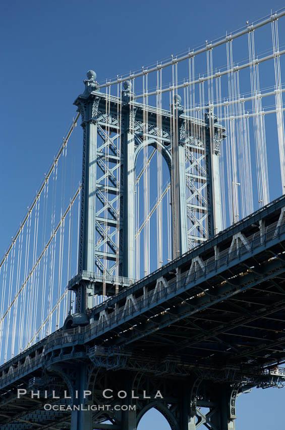 Manhattan Bridge viewed from Brooklyn. Manhattan Bridge, New York City, New York, USA, natural history stock photograph, photo id 11053