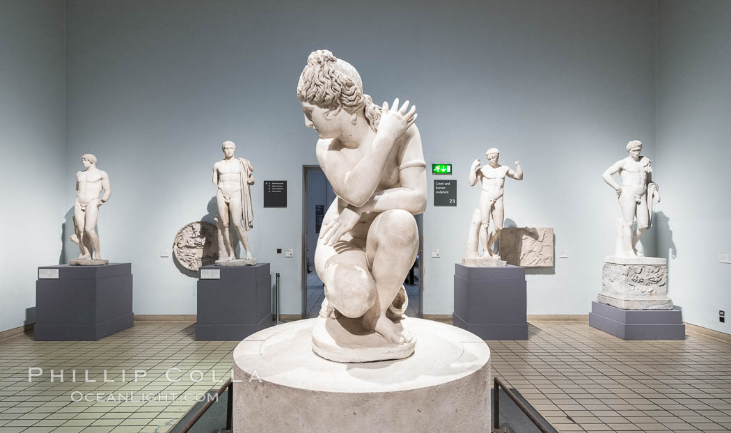 Marble statue of a naked Aphrodite crouching at her bath, Roman, 2nd century AD. British Museum, London, United Kingdom, natural history stock photograph, photo id 28315