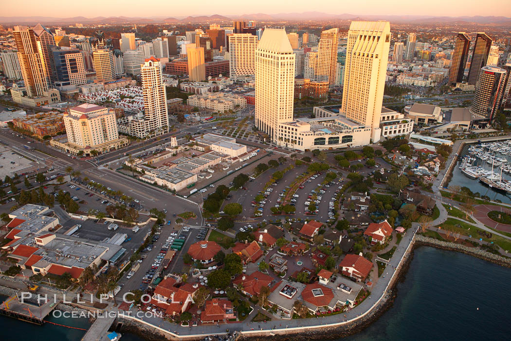Marina District of San Diego, with Seaport Village (lower) and Grand Hyatt hotel towers (top), along San Diego Bay. San Diego, California, USA, natural history stock photograph, photo id 22340