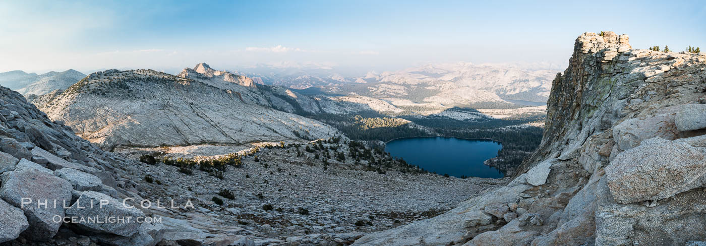 May Lake from Summit of Mount Hoffmann, sunset, viewed toward northeast including Tuolumne Meadows, panorama, Yosemite National Park. California, USA, natural history stock photograph, photo id 31196