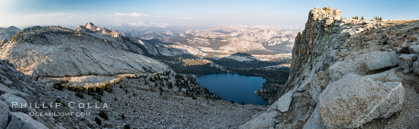 May Lake from Summit of Mount Hoffmann, sunset, viewed toward northeast including Tuolumne Meadows, panorama, Yosemite National Park. California, USA, natural history stock photograph, photo id 31197