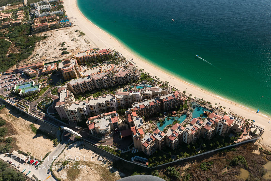 Aerial view of Medano Beach in Cabo San Lucas, showing many resorts along the long white sand beach. Cabo San Lucas, Baja California, Mexico, natural history stock photograph, photo id 28880