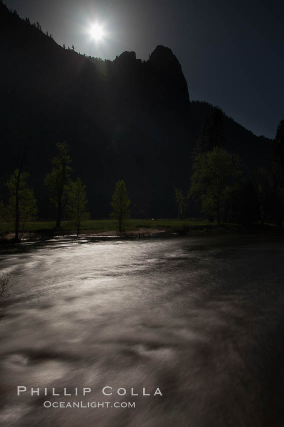 Merced River and full moon. Yosemite National Park, California, USA, natural history stock photograph, photo id 27760