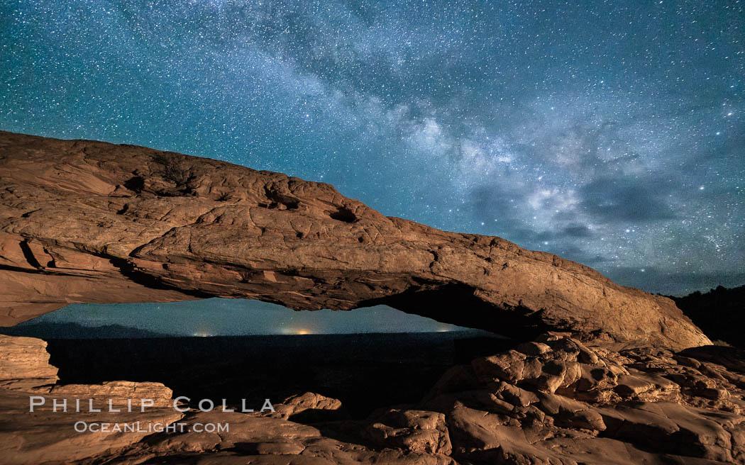 The Milky Way arching over Mesa Arch at night. Mesa Arch, Canyonlands National Park, Utah, USA, natural history stock photograph, photo id 27827