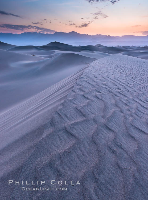Mesquite Dunes sunrise, dawn, clouds and morning sky, sand dunes. Stovepipe Wells, Death Valley National Park, California, USA, natural history stock photograph, photo id 28680