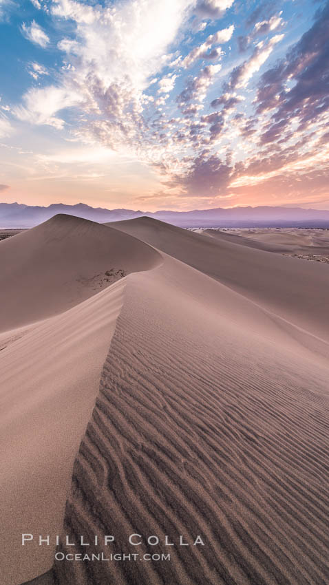Mesquite Dunes sunrise, dawn, clouds and morning sky, sand dunes. Stovepipe Wells, Death Valley National Park, California, USA, natural history stock photograph, photo id 28688
