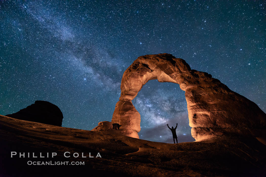 Milky Way and Stars over Delicate Arch, at night, Arches National Park, Utah. Delicate Arch, Arches National Park, Utah, USA, natural history stock photograph, photo id 29291
