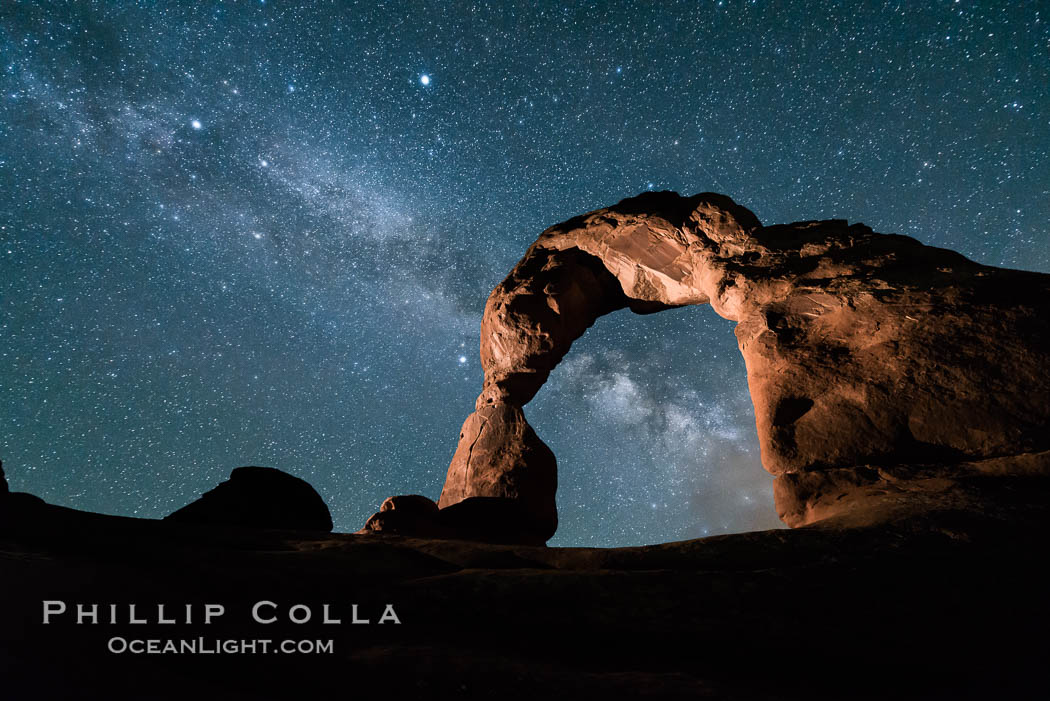 Milky Way and Stars over Delicate Arch, at night, Arches National Park, Utah. Delicate Arch, Arches National Park, Utah, USA, natural history stock photograph, photo id 29297